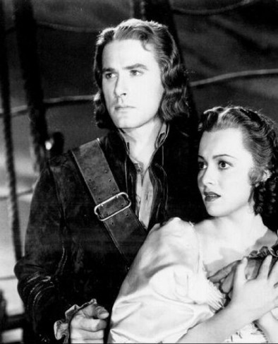 Errol Flynn and his favorite leading lady Olivia de Havilland in 1935's Captain Blood.