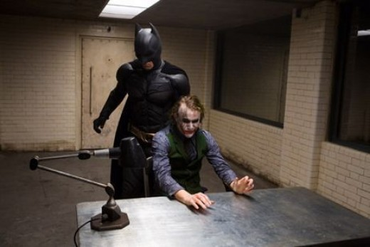 Christian Bale and Heath Ledger in 2008's The Dark Knight