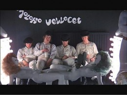 Alex and his droogs in Kubrick's #2 movie A Clockwork Orange