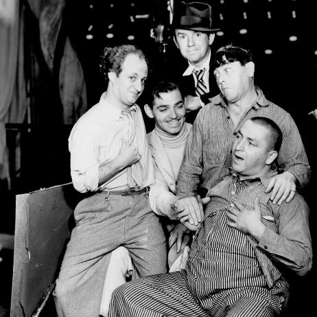 Clark Gable and The Three Stooges on the set of 1933's Dancing Lady
