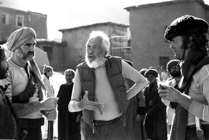John Huston directing Sean Connery and Michael Caine in 1975's The Man Would Be King