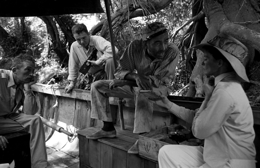 John Huston directing Humphrey Bogart and Katharine Hepburn in 1951's The African Queen