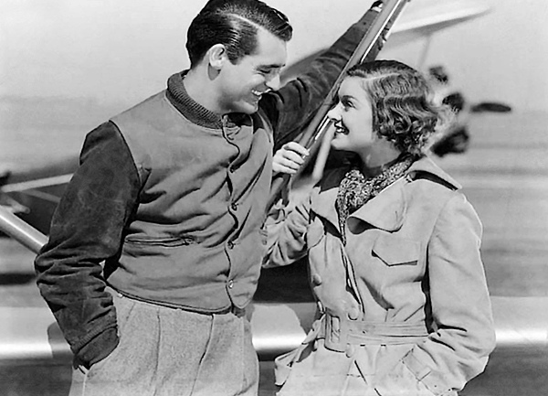 Cary Grant and Myrna Loy in 1935's Wings in the Dark...one of three Grant/Loy movies