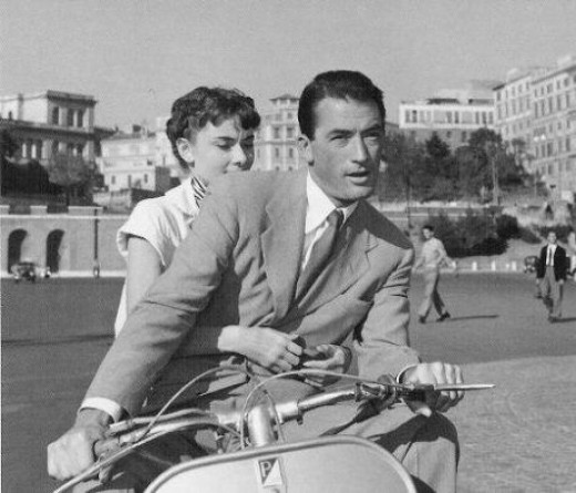 Audrey Hepburn and Gregory Peck in 1953's Roman Holiday
