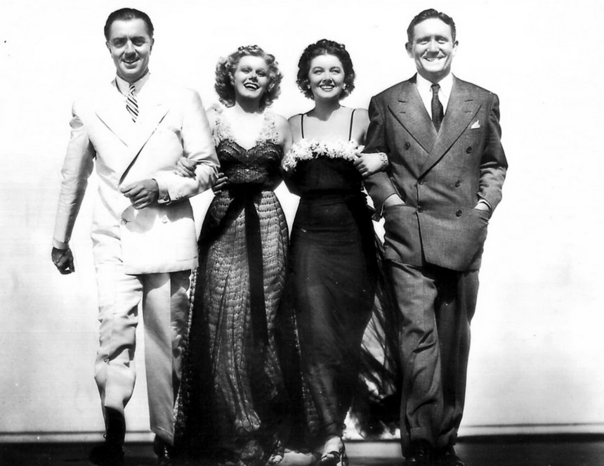 William Powell, Harlow, Myrna Loy and Spencer Tracer in 1936's Libeled Lady
