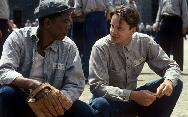 Morgan Freeman & Tim Robbins in The Shawshank Redemption (1994) ...the highest rated movie on IMDb.com