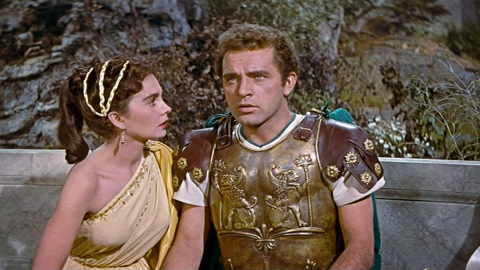 Jean Simmons and Richard Burton in 1953's The Robe....one of the biggest box office hits of all-time.