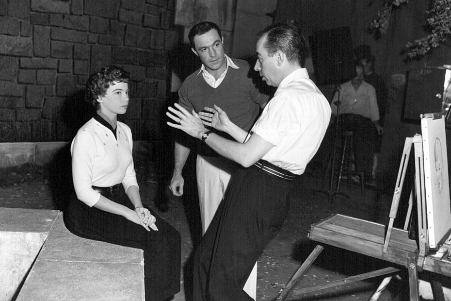 Vincente Minnelli, Leslie Caron and Gene Kelly on set of An American In Paris (1951)